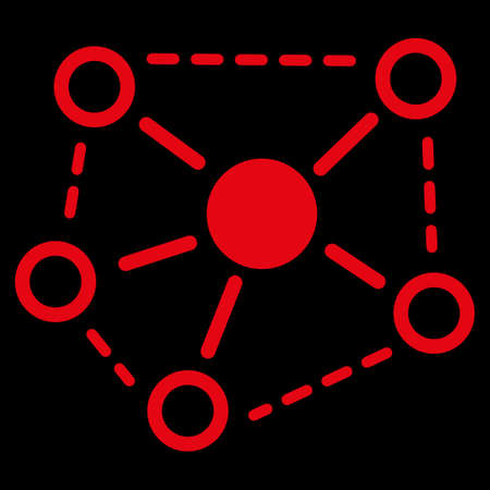 uses: Molecule links icon. This flat raster symbol uses red color, rounded angles, and isolated on a black background.