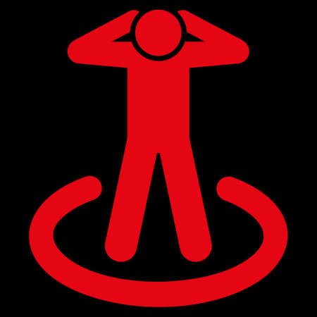 uses: Prison icon. This flat raster symbol uses red color, rounded angles, and isolated on a black background. Stock Photo