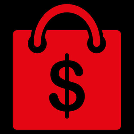 uses: Shopping bag icon. This flat raster symbol uses red color, rounded angles, and isolated on a black background.