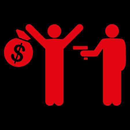 robbery: Robbery icon. This flat raster symbol uses red color, rounded angles, and isolated on a black background.