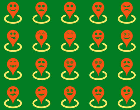 smiley face car: Smiled location icons. Vector set style is bicolor flat images, orange and yellow symbols, isolated on a green background.