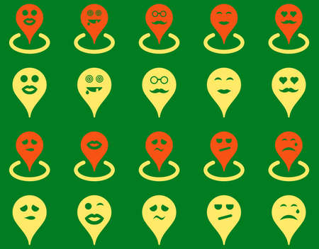 smiley face car: Smiled map marker icons. Vector set style is bicolor flat images, orange and yellow symbols, isolated on a green background. Illustration