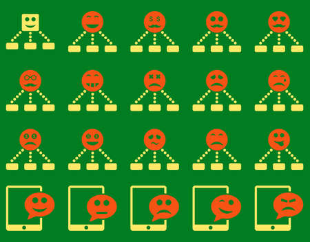 bad fortune: Emotion hierarchy and SMS icons. Vector set style is bicolor flat images, orange and yellow symbols, isolated on a green background.
