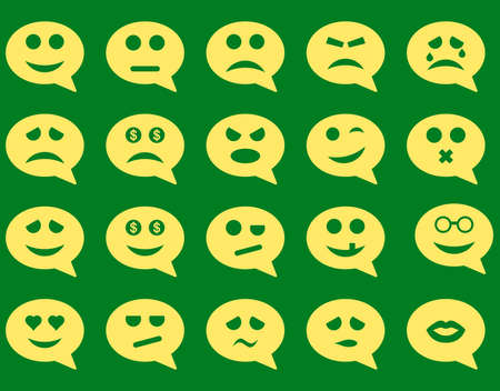 pity: Chat emotion smile icons. Vector set style is flat images, yellow symbols, isolated on a green background.