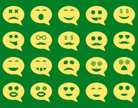 oldman: Chat emotion smile icons. Vector set style is flat images, yellow symbols, isolated on a green background.