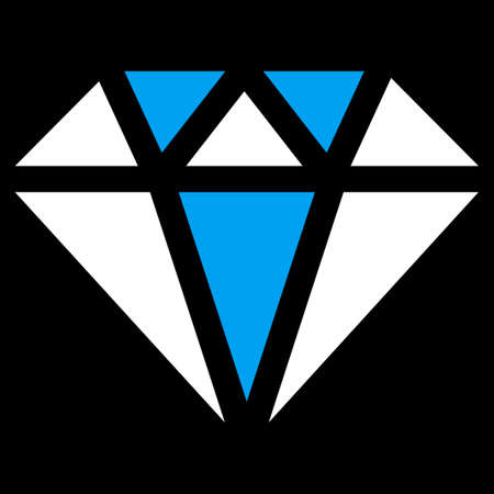topaz: Diamond icon from Commerce Set. Vector style is bicolor flat symbol, blue and white colors, rounded angles, black background.