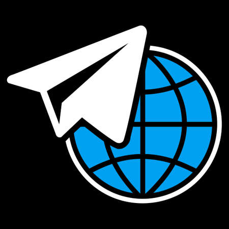 telegrama: icono independiente de Comercio Conjunto. estilo vector es símbolo plana bicolor, colores azul y blanco, ángulos redondeados, fondo negro. Vectores