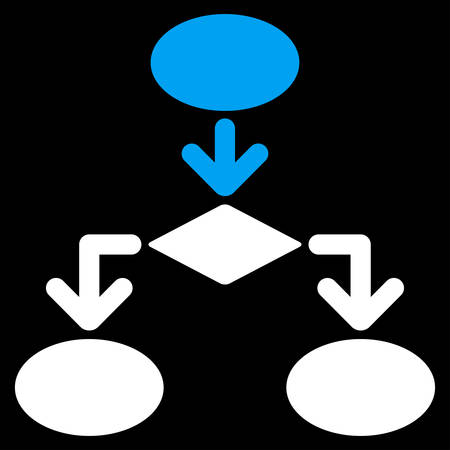 flowchart: Flowchart icon from Commerce Set. Vector style is bicolor flat symbol, blue and white colors, rounded angles, black background.