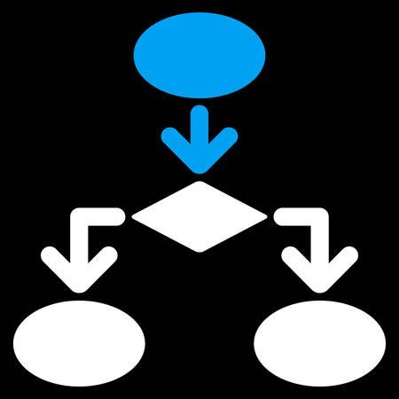 diagrama de flujo: icono de diagrama de flujo de Comercio Conjunto. estilo vector es símbolo plana bicolor, colores azul y blanco, ángulos redondeados, fondo negro.