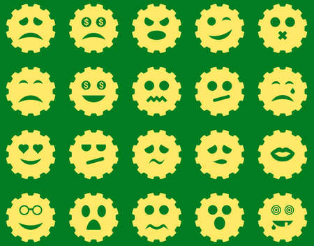 bad fortune: Gear emotion icons. Vector set style is flat images, yellow symbols, isolated on a green background.