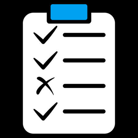 task list: Task List icon from Commerce Set. Vector style is bicolor flat symbol, blue and white colors, rounded angles, black background.