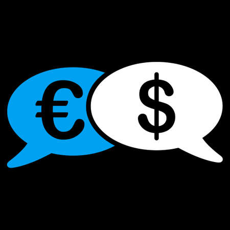 transactions: Banking Transactions icon from Commerce Set. Vector style is bicolor flat symbol, blue and white colors, rounded angles, black background.