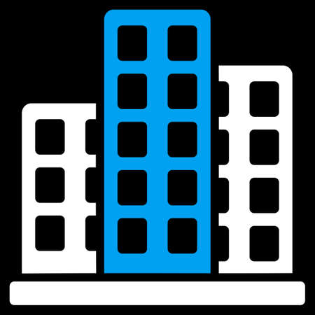 burg: City icon from Commerce Set. Vector style is bicolor flat symbol, blue and white colors, rounded angles, black background. Illustration