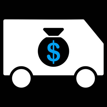 collector: Collector Car icon from Commerce Set. Vector style is bicolor flat symbol, blue and white colors, rounded angles, black background.