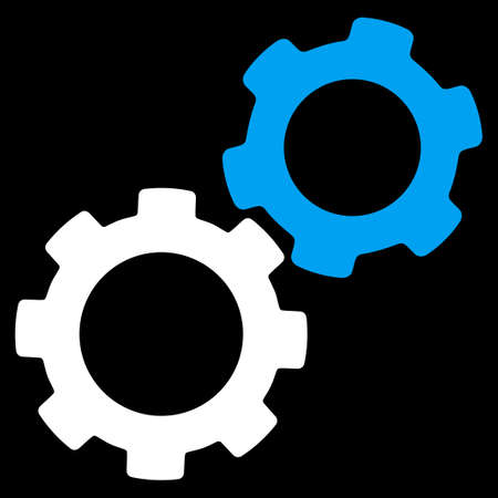 config: Gears icon from Commerce Set. Vector style is bicolor flat symbol, blue and white colors, rounded angles, black background.