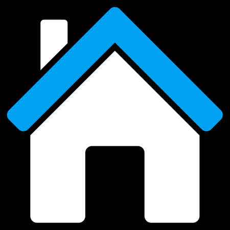 domestic garage: House icon from Commerce Set. Vector style is bicolor flat symbol, blue and white colors, rounded angles, black background.