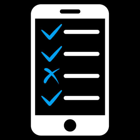 tasks: Mobile Tasks icon from Commerce Set. Vector style is bicolor flat symbol, blue and white colors, rounded angles, black background.