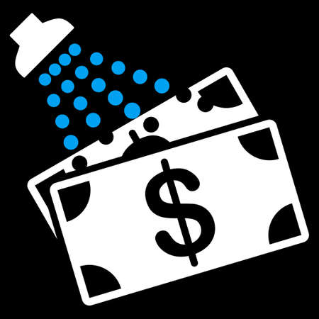 Money Laundry icon from Commerce Set. Vector style is bicolor flat symbol, blue and white colors, rounded angles, black background. Illustration