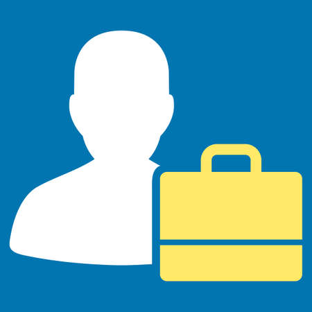 bookkeeper: Accounter icon from Commerce Set. Glyph style is bicolor flat symbol, yellow and white colors, rounded angles, blue background. Stock Photo