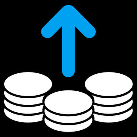 payout: Payout icon from Commerce Set. Vector style is bicolor flat symbol, blue and white colors, rounded angles, black background.