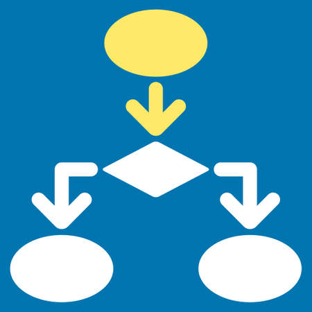 flowchart: Flowchart icon from Commerce Set. Glyph style is bicolor flat symbol, yellow and white colors, rounded angles, blue background. Stock Photo