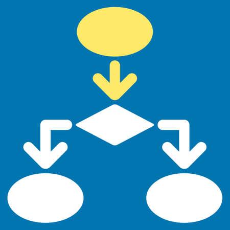 diagrama de flujo: icono de diagrama de flujo de Comercio Conjunto. estilo glifo es símbolo plana bicolor, colores amarillo y blanco, ángulos redondeados, fondo azul. Foto de archivo
