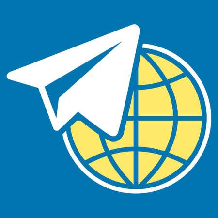 telegrama: Icono Freelance de Comercio Set. Estilo Glifo es símbolo plana bicolor, colores amarillo y blanco, ángulos redondeados, fondo azul.