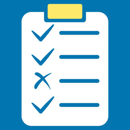 registry: Task List icon from Commerce Set. Glyph style is bicolor flat symbol, yellow and white colors, rounded angles, blue background. Stock Photo