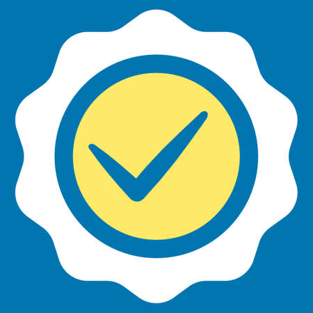 valid: Valid icon from Competition & Success Bicolor Icon Set. Glyph style is flat bicolor symbols, yellow and white colors, rounded angles, blue background.