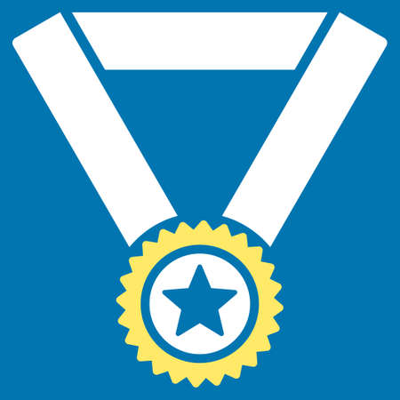 approval rate: Winner medal icon from Competition & Success Bicolor Icon Set. Glyph style is flat bicolor symbols, yellow and white colors, rounded angles, blue background. Stock Photo