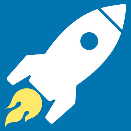 d�collage fus�e: Rocket Launch icon from Commerce Set. Glyph style is bicolor flat symbol, yellow and white colors, rounded angles, blue background. Banque d'images