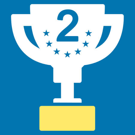 second prize: Second prize icon from Competition & Success Bicolor Icon Set. Glyph style is flat bicolor symbols, yellow and white colors, rounded angles, blue background.