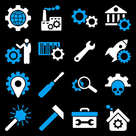gear box: Options and service tools icon set. Vector style is flat bicolor symbols, blue and white colors, rounded angles, black background.