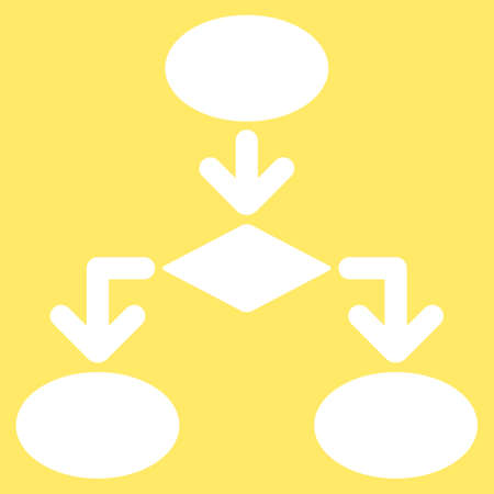 flowchart: Flowchart icon from Commerce Set. Vector style is flat symbol, white color, rounded angles, yellow background. Illustration