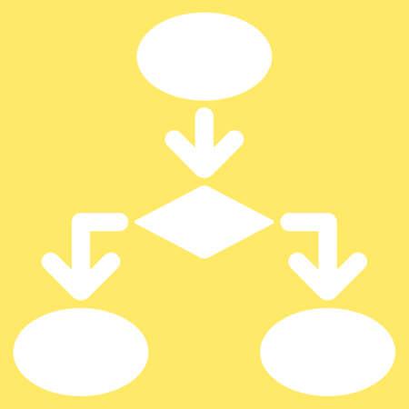 diagrama de flujo: icono de diagrama de flujo de Comercio Conjunto. estilo vector es s�mbolo plana, de color blanco, �ngulos redondeados, fondo amarillo. Vectores