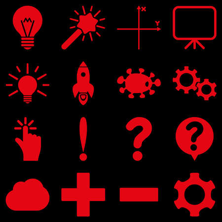gear box: Basic science and knowledge vector icons. These plain symbols use red color and isolated on a black background.