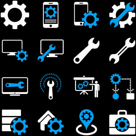 config: Options and service tools icon set. Vector style is flat bicolor symbols, blue and white colors, rounded angles, black background.