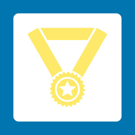 favorite number: Winner medal icon. Icon style is yellow and white colors, flat rounded square button, blue background.