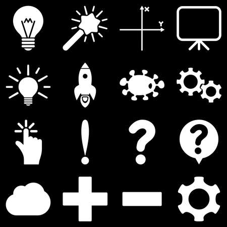 gear box: Basic science and knowledge raster icons. These plain symbols use white color and isolated on a black background.