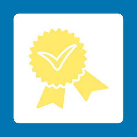 favorite number: Validation seal icon. Icon style is yellow and white colors, flat rounded square button, blue background. Illustration