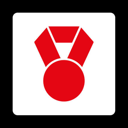 favorite number: Achievement icon. Icon style is red and white colors, flat rounded square button, black background. Illustration