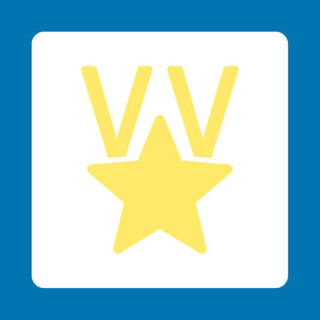 favorite number: Victory icon. Icon style is yellow and white colors, flat rounded square button, blue background.