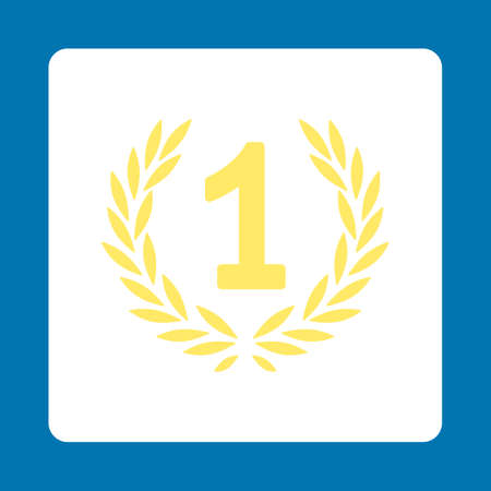 laureate: Win icon. Icon style is yellow and white colors, flat rounded square button, blue background. Illustration