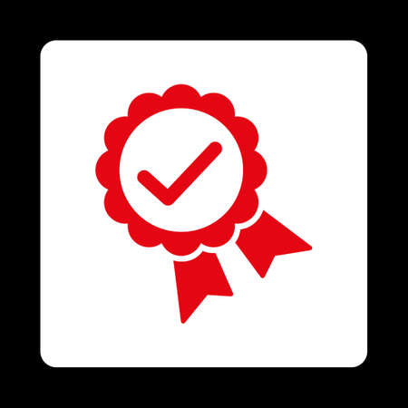 approved icon: Approved icon. Icon style is red and white colors, flat rounded square button, black background. Illustration