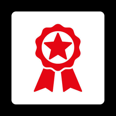 favorite number: Award icon. Icon style is red and white colors, flat rounded square button, black background.