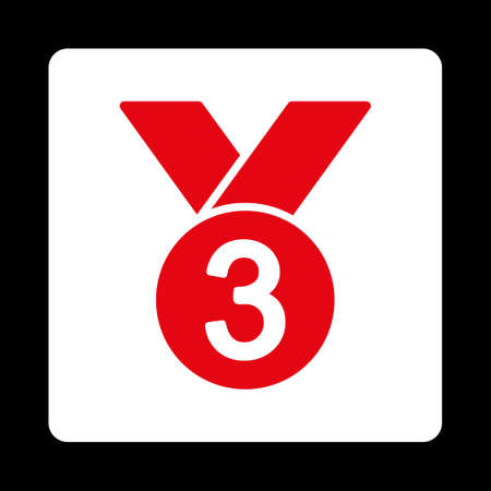 favorite number: Bronze medal icon. Icon style is red and white colors, flat rounded square button, black background.