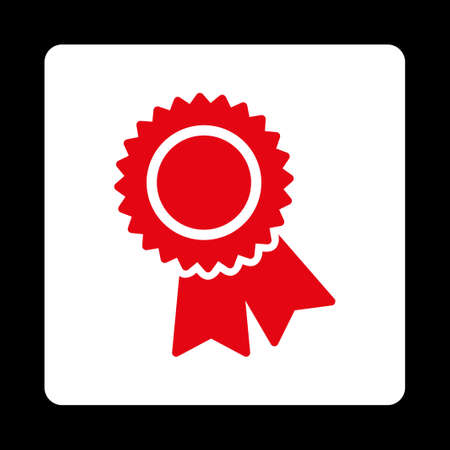 Certification Icon. Icon Style Is Red And White Colors, Flat ...