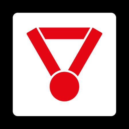 favorite number: Champion award icon. Icon style is red and white colors, flat rounded square button, black background.