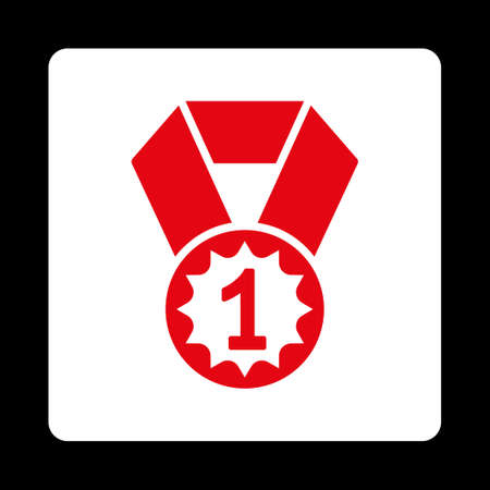 favorite number: First place icon. Icon style is red and white colors, flat rounded square button, black background. Illustration