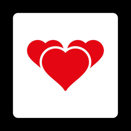 favourites: Favourites icon. Icon style is red and white colors, flat rounded square button, black background.